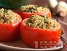 Рецепта Пълнени домати с киноа, гъби и сирене, печени на фурна